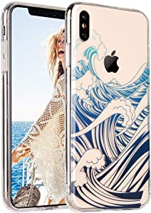 COSANO Cute iPhone Xs MAX case, Clear Blue Sea Wave Nature Beach Summer Design [Hard PC Back +Shock Absorbing Soft Bumper] Tropical Flowers Slim Thin Transparent Flexible Protective Cover (Wavez MAX)