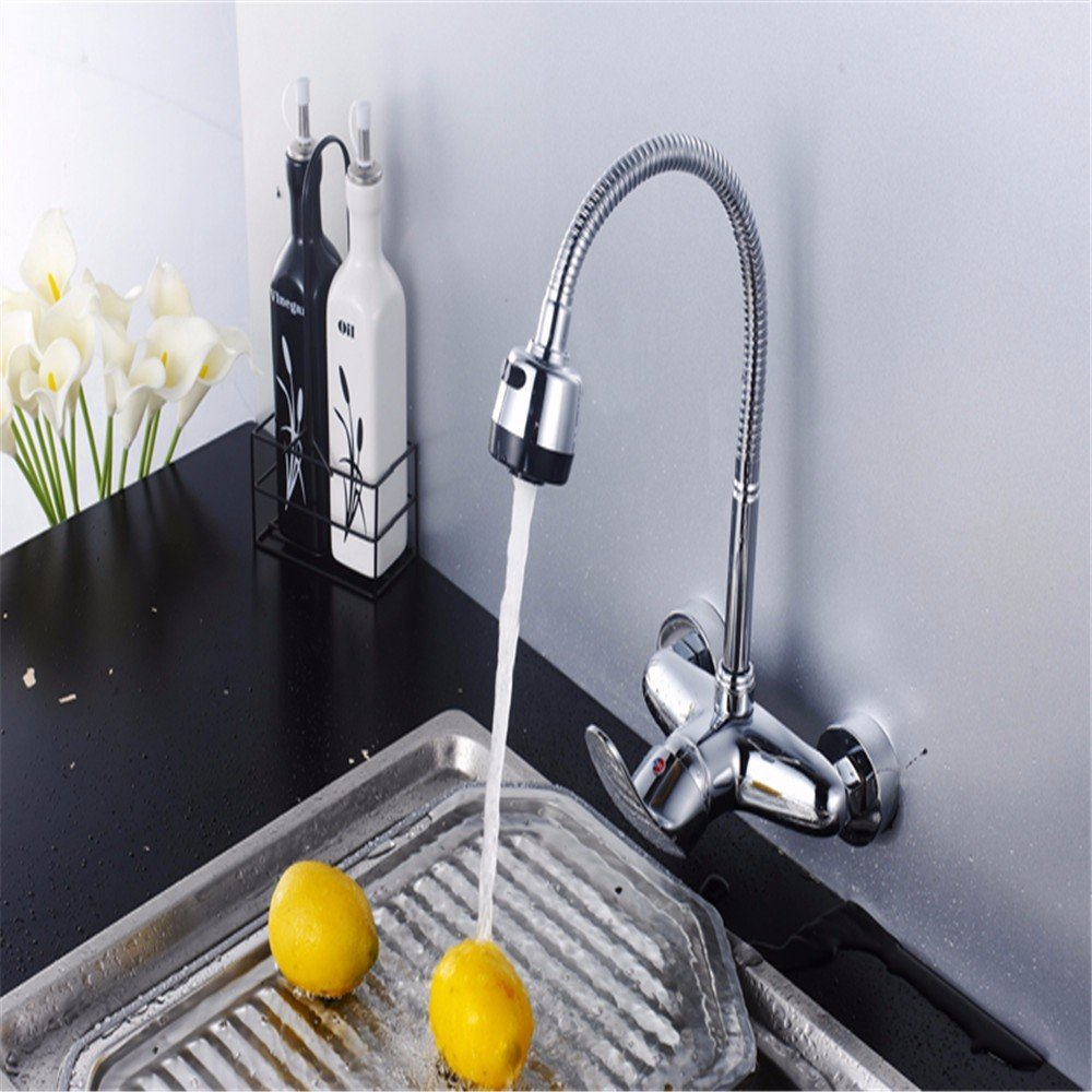 LOSTRYY Double-wall-mounted single-hole lavatory faucet handle hot and cold good