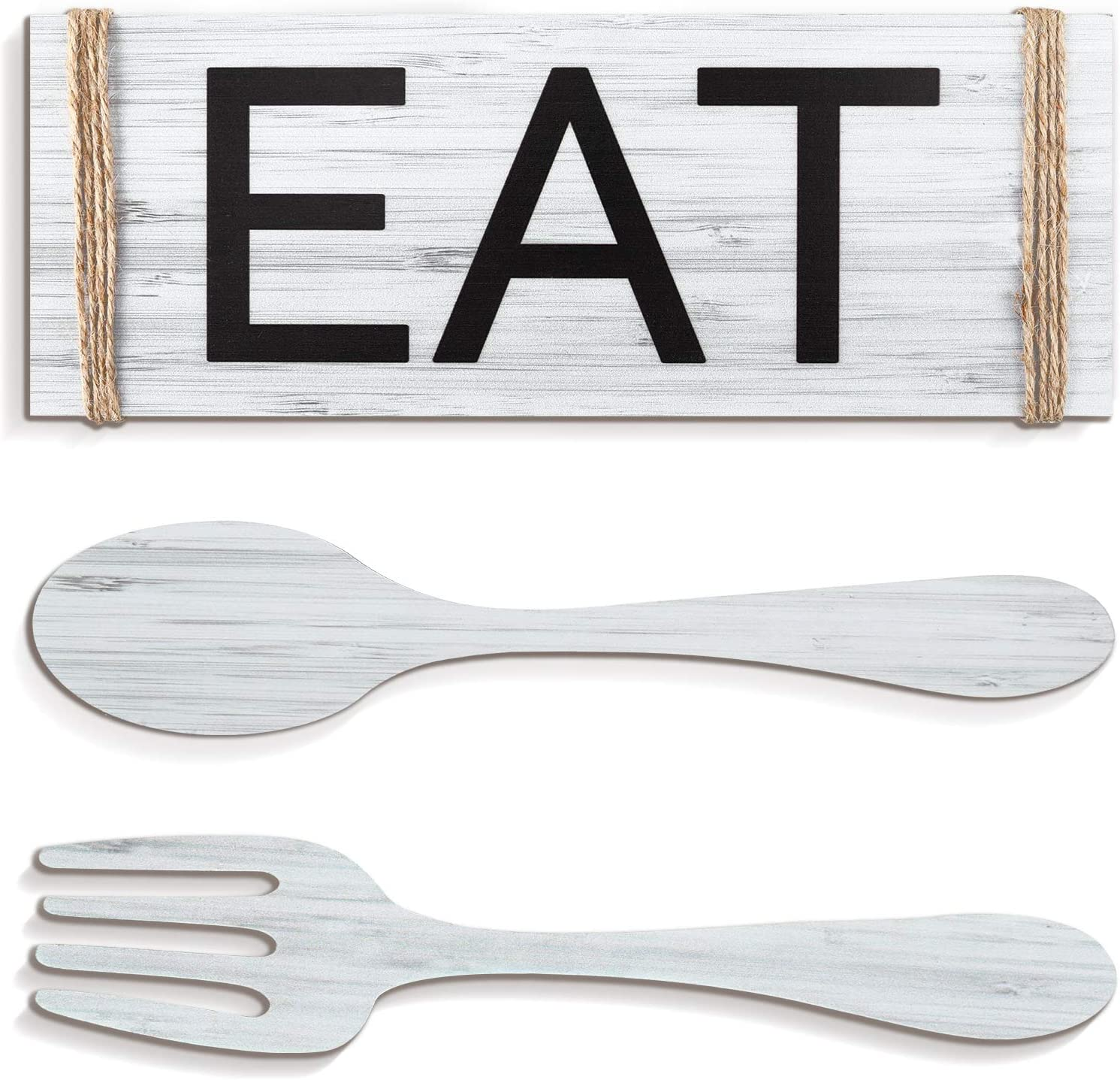 Yerliker Set of 3 Pieces Eat Sign Wall Decor, Rustic Farmhouse Spoon Fork Wooden Sign Decoration Country Wall Art Decorative Hanging Wooden Letters for Kitchen Home Decor (Light Gray)