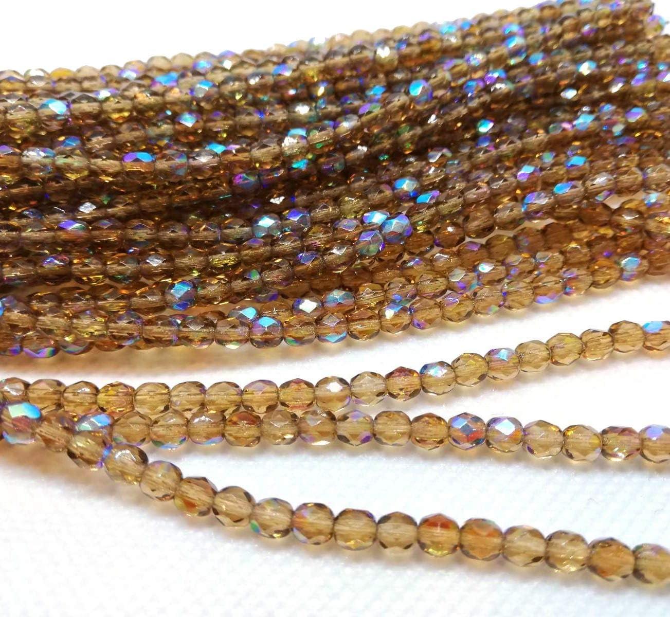Cuerda de Cuentas de Cristal de Bohemia pulidas Preciosa de 4 mm, pulidas al Fuego, facetadas, Redondas, Cuentas de Estilo checo, Light Colorado Topaz AB, 4mm
