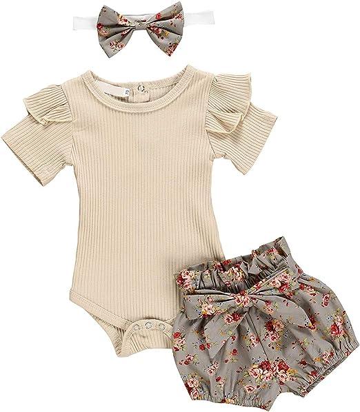 puseky Conjunto de Trajes de Diadema Floral con Volantes y Manga Larga con Volantes para bebés bebés niñas: Amazon.es: Ropa y accesorios