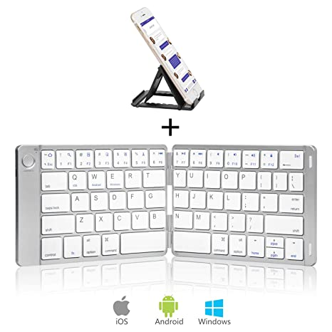 31b733cf184 Sounwill Foldable Keyboard, Wireless Portable Keyboard with Stand Holder,  Pocket Size Ultra Slim Premium