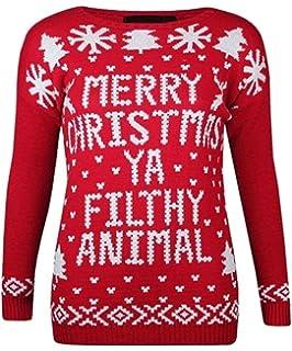 cad1e288 I43 NEW WOMENS MERRY CHRISTMAS YA FILTHY ANIMAL FESTIVE LADIES PLUS SIZE  JUMPER. (M