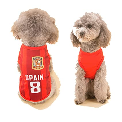 24b8c79a1 Amazon.com   SymbolLife Dog Clothes Football T-shirt Dogs Costume National  Soccer World Cup FIFA Jersey for Pet Spain   Pet Supplies