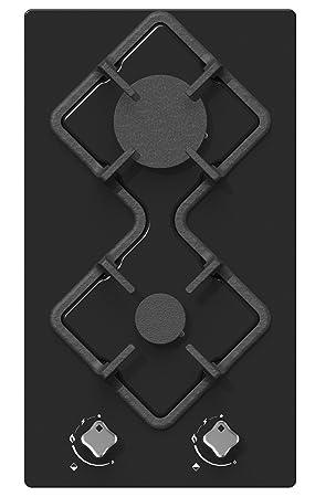 Royaume-Uni disponibilité fd185 19845 Hudson Table Plaque de Cuisson 2 feux Gaz - HDG 2 VN - à encastrer - Design  - Verre Noir - Très haute résistance (510x290x40 mm),