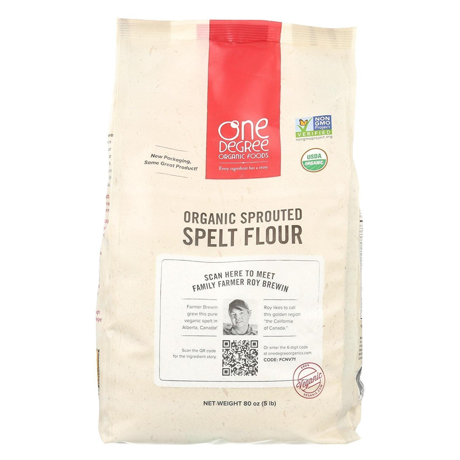 Sprouted Spelt Flour 80 Ounces (Case of 4) by One Degree Organic Foods