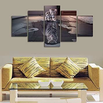 ShuaXin Cat And Tiger Giclee Artwork 5 Panel Inspiration Canvas Painting For Room Decorative Wall