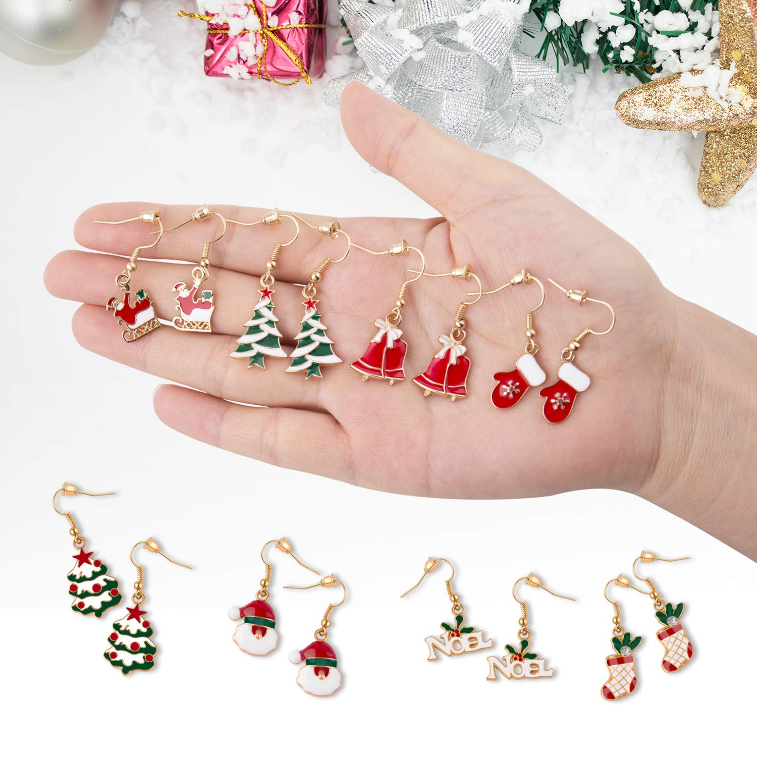 Christmas Earrings Set gifts for Womens Girls Thanksgiving Xmas Jewelry Snowman Hand Sock Santa Claus Christmas Tree Bell Drop Dangle Earrings Holiday Jewelry