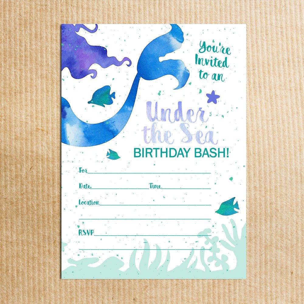 Amazon.com: Mermaid Birthday Party Invitations - Fill In Style (10 ...