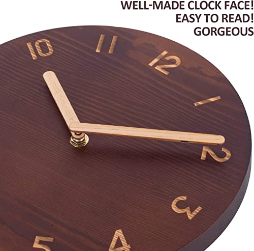 Wall Clock, Retro Analog Round Hanging Clock, Silent Non-Ticking Wooden Clock for Bedroom, Living Room, Kitchen, Cafe, Office – 10 Inch, Pine Wood