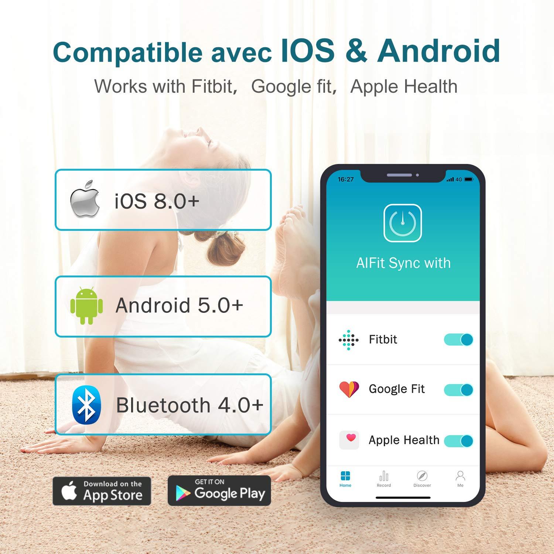 Hosome Bilancia Massa Grassa Bluetooth Analizzatore di Composizione Corporea Supporto Multiutente Monitor con APP Intelligente Sincronizza con iOS e Android Bilancia Pesapersone