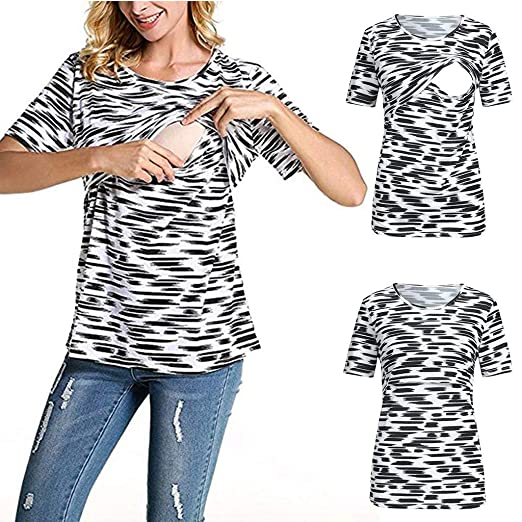 5465c1fd2ddb1 Amazon.com: Franterd Maternity Clothes Women Short Sleeve Zebra Print  Double Layer Maternity Nursing Tops Shirts for Breastfeeding: Clothing
