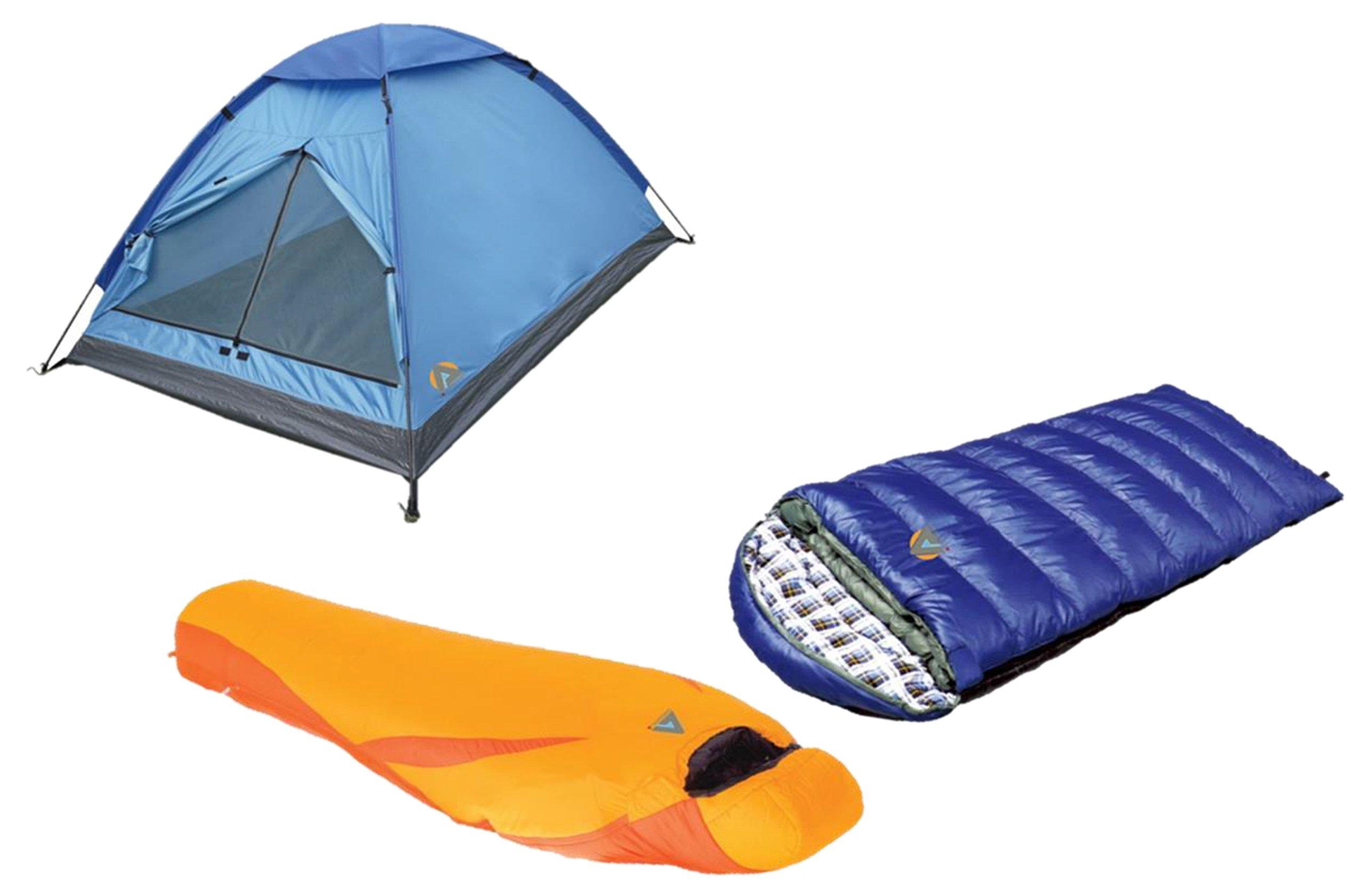 Alpinizmo-High-Peak-USA-Kodiak-0F-Latitude-20F-Sleeping-Monodome-3-Tent-Combo-Set-BlueOrange-One-Size