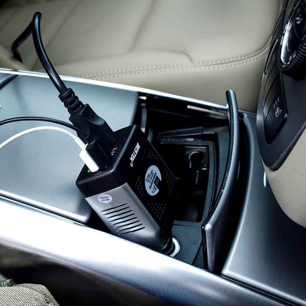BESTEK 150W Power Inverter 12V to 110V Voltage Converter Car Charger Power Adapter with 2 USB Charging Ports (3.1A Shared) by BESTEK
