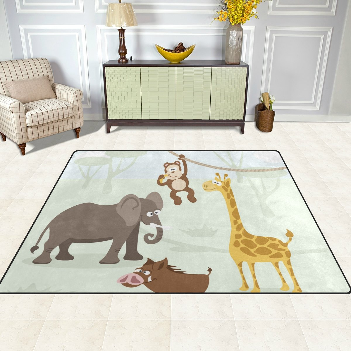 Vantaso Soft Foam Area Rugs Forest Animals Elephant Monkey Non Slip Play Mats for Kids Boys Girls Playing Room Living Room 80x58 inch by Vantaso (Image #3)
