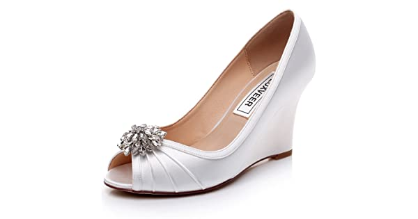 dca3fb66060 LUXVEER Ivory Wedding Wedges with Silver Rhinestone Brooch