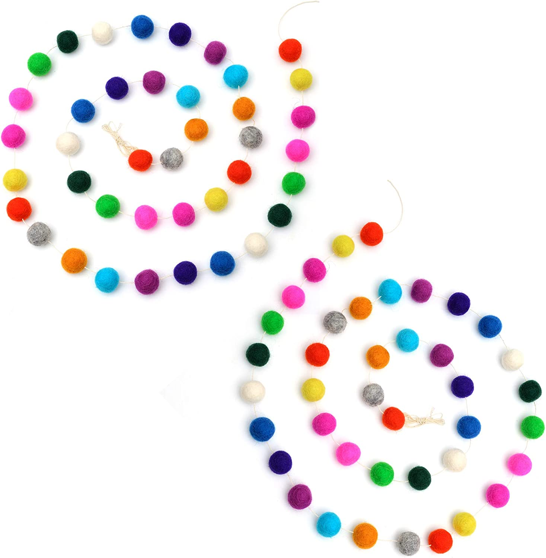 Glaciart One Pom Pom Garland (2 Pcs) - Wool Felt Ball Garland - 12 Feet, 40 Balls, 13 Rainbow Colors, Pom Pom Decorations, Circus, Nursery Decor, Bunting, Birthday Party Decorations, Carnival