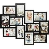 Fotocollage Bilderrahmen mit Glasscheiben für 12 Fotos Schwarz- Fotogalerie Fotorahmen Bilderrahmen Bildergalerie Collage Galerie - im Hochformat und Querformat