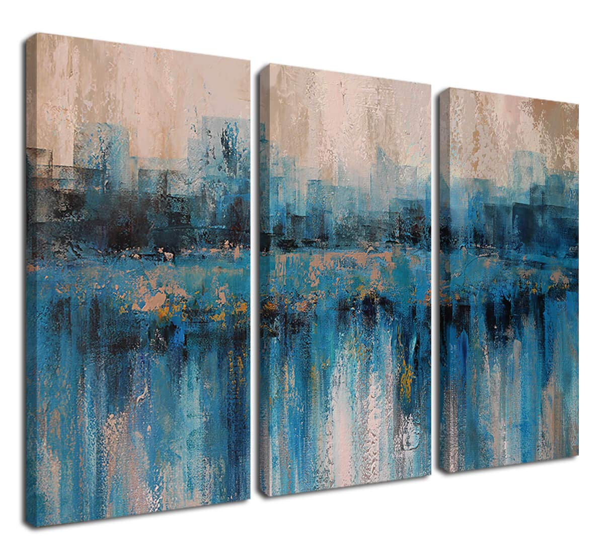 Canvas Wall Art Prints Abstract Textured Cityscape Painting Artwork Grey Blue Tones 3 Panels/Set Large Size Framed Pictures Ready to Hang for Living Room Bedroom Office Kitchen Decorations 16''x32''x3