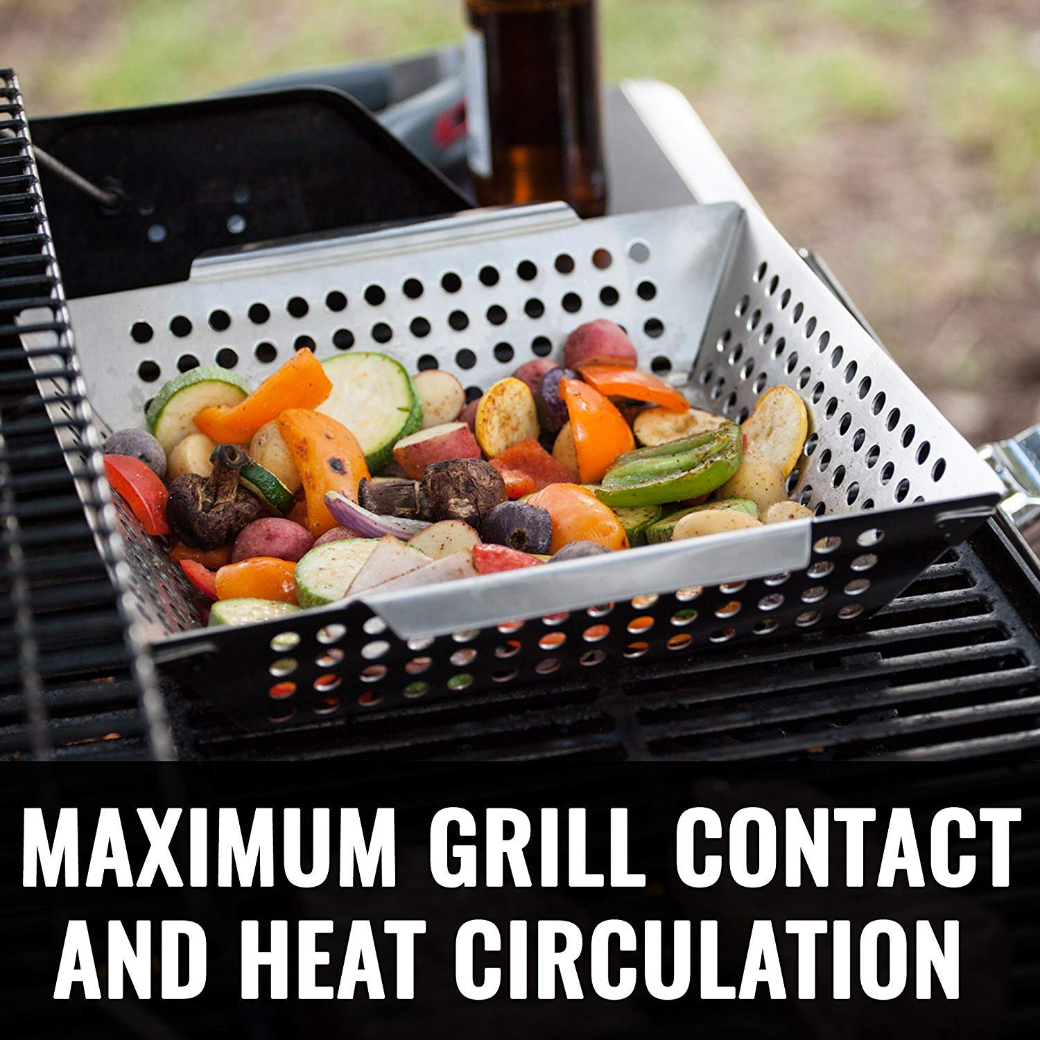 Grillaholics Grill Basket - Large Grilling Basket for More Vegetables - Heavy Duty Stainless Steel Grilling Accessories Built to Last - Perfect Vegetable Grill Basket for All Grills and Veggies by Grillaholics (Image #5)