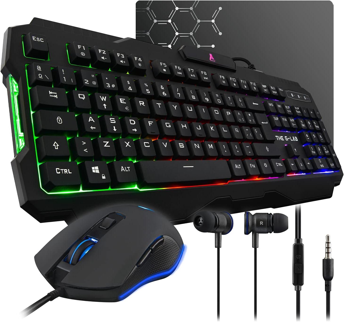 THE G-LAB Combo HELIUM 4 en 1 Gaming Bundle - Teclado Gaming QWERTY – Incluye Ñ - Retroiluminado, Ratón Gaming de 2400 DPI, Auriculares in-ear, ...