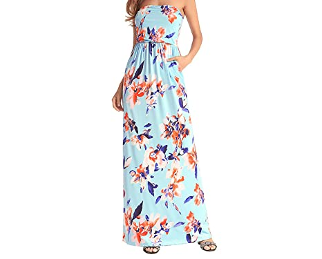 5e67dfdc77 Unique-Shop dresses 2018 Spring and Summer New Women s Tube top Print Big  Swing Dress Bohemian Dress at Amazon Women s Clothing store