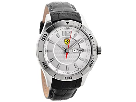 75070d2cef2 Image Unavailable. Image not available for. Color  Ferrari Scuderia Silver Dial  Black Leather Mens Watch 830092