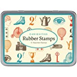 Cavallini Papers Assorted Wooden Rubber Stamps, Curiosities, Set of 12