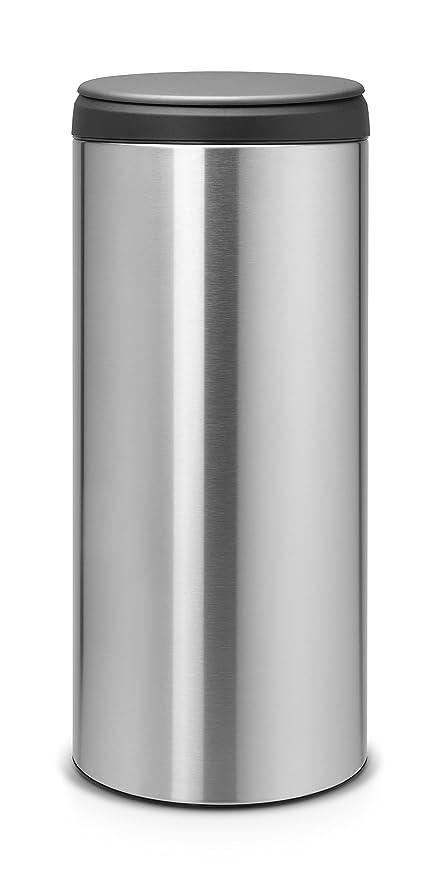Brabantia FlipBin 106965 - Cubo de Basura, 30 l, Tapa Gris Oscuro, Cuerpo Acero Mate Anti-Huellas