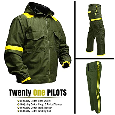 8613988f38e Men s Twenty One Pilots with Jumpsuit Bomber Green Hood Cotton Jacket(Size   XXS-