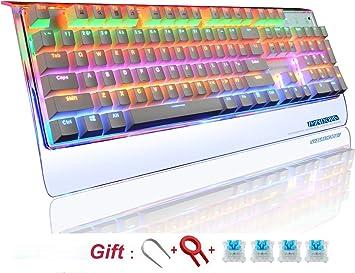 Teclado gamer mecánico retroiluminado RGB, resistente al agua, con 104 teclas, conectado al PC con interruptores azules