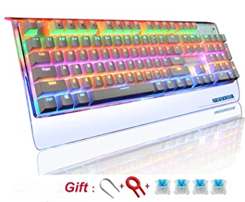Teclado gamer mecánico retroiluminado RGB, resistente al agua, con 104 teclas, conectado al