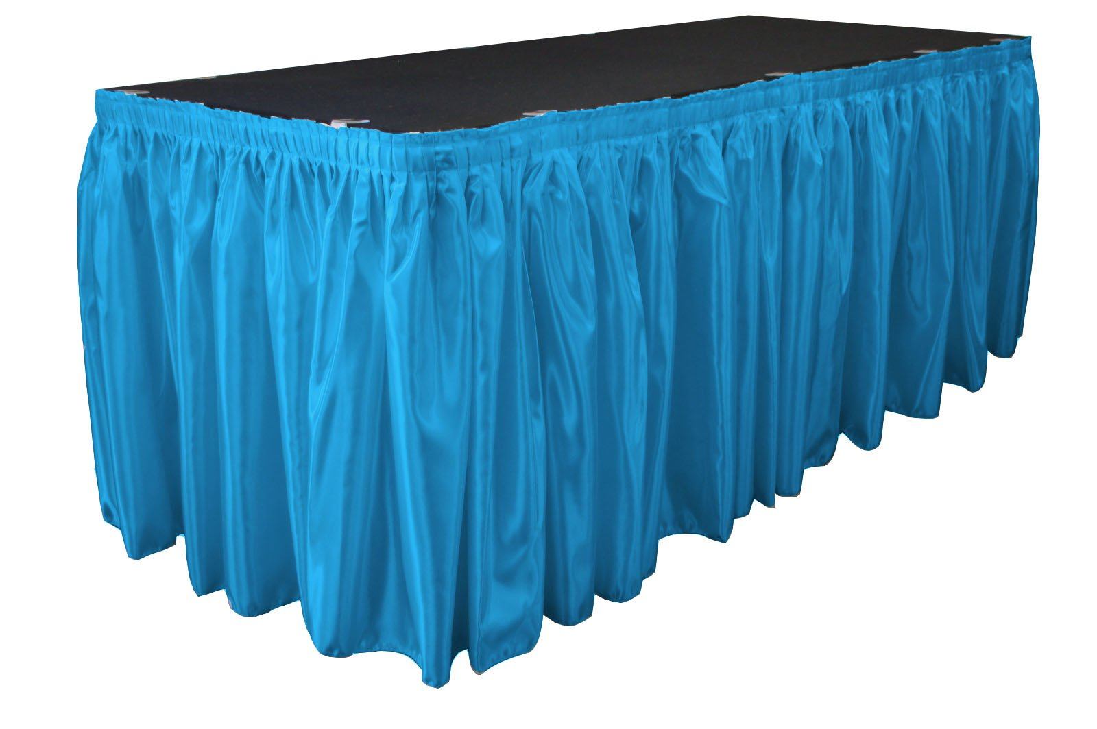 LA Linen Bridal Satin Pleated Table Skirt with 10 Large Clips, 14-Feet by 29-Inch, Turquoise by LA Linen