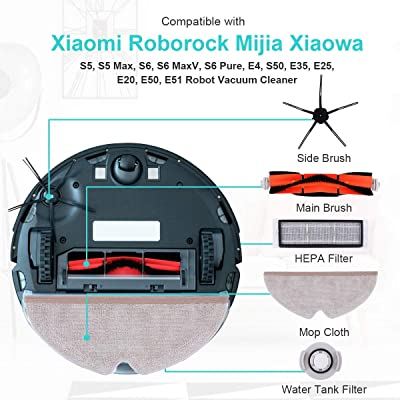For Roborock S5 MAX S6 S51 Robot Vacuum Cleaner Mopping Cloth Hepa Filter Parts