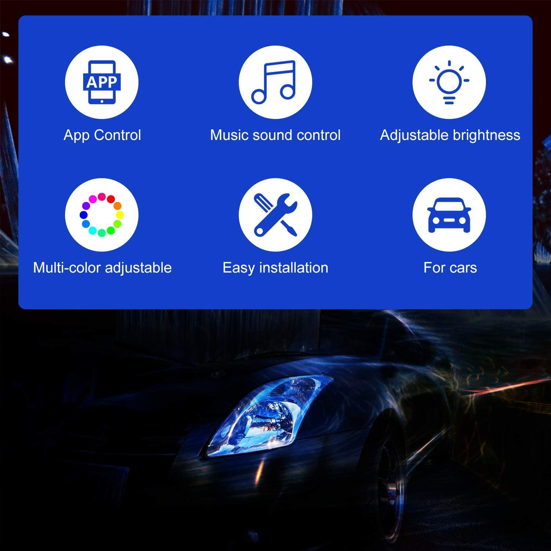 Zorara RGB Auto LED Innenbeleuchtung mit APP Steuerbare Auto LED Fu/ßraumbeleuchtung Fu/ßraum Ambientebeleuchtung Auto Innenraum Strip Atmosph/äre Licht mit USB Port Auto LED Innenbeleuchtung RGB