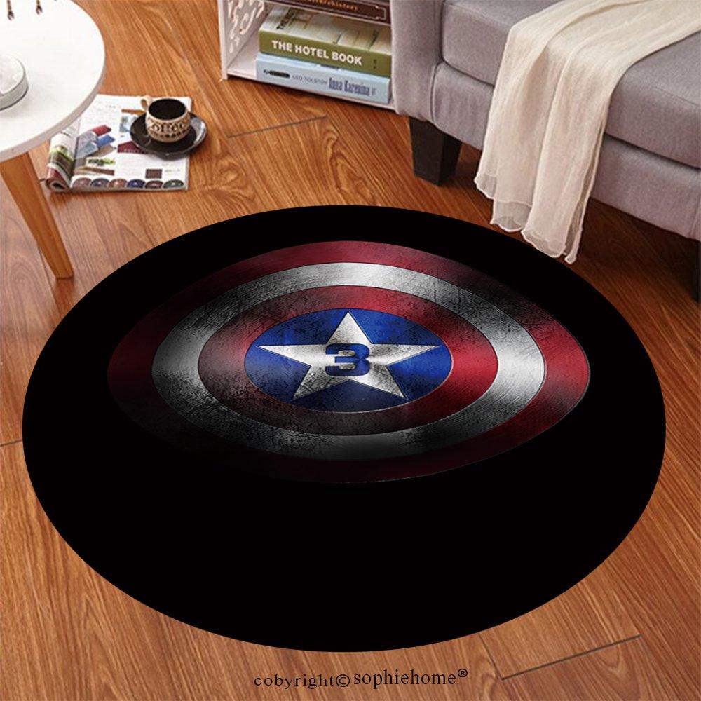 Sophiehome Soft Carpet Captain America Shield Anti-skid Carpet Round 24 inches