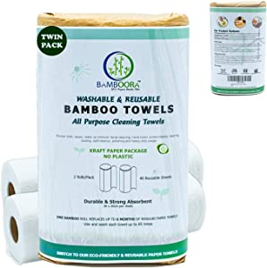 Bamboora (Pack of 2) All Purpose Reusable Paper Towels Eco-Friendly, Washable Bamboo Paper Towels, 2x Rolls 40 Unpaper Towels Sheets Completely Vegan Lint free and Biodegradable
