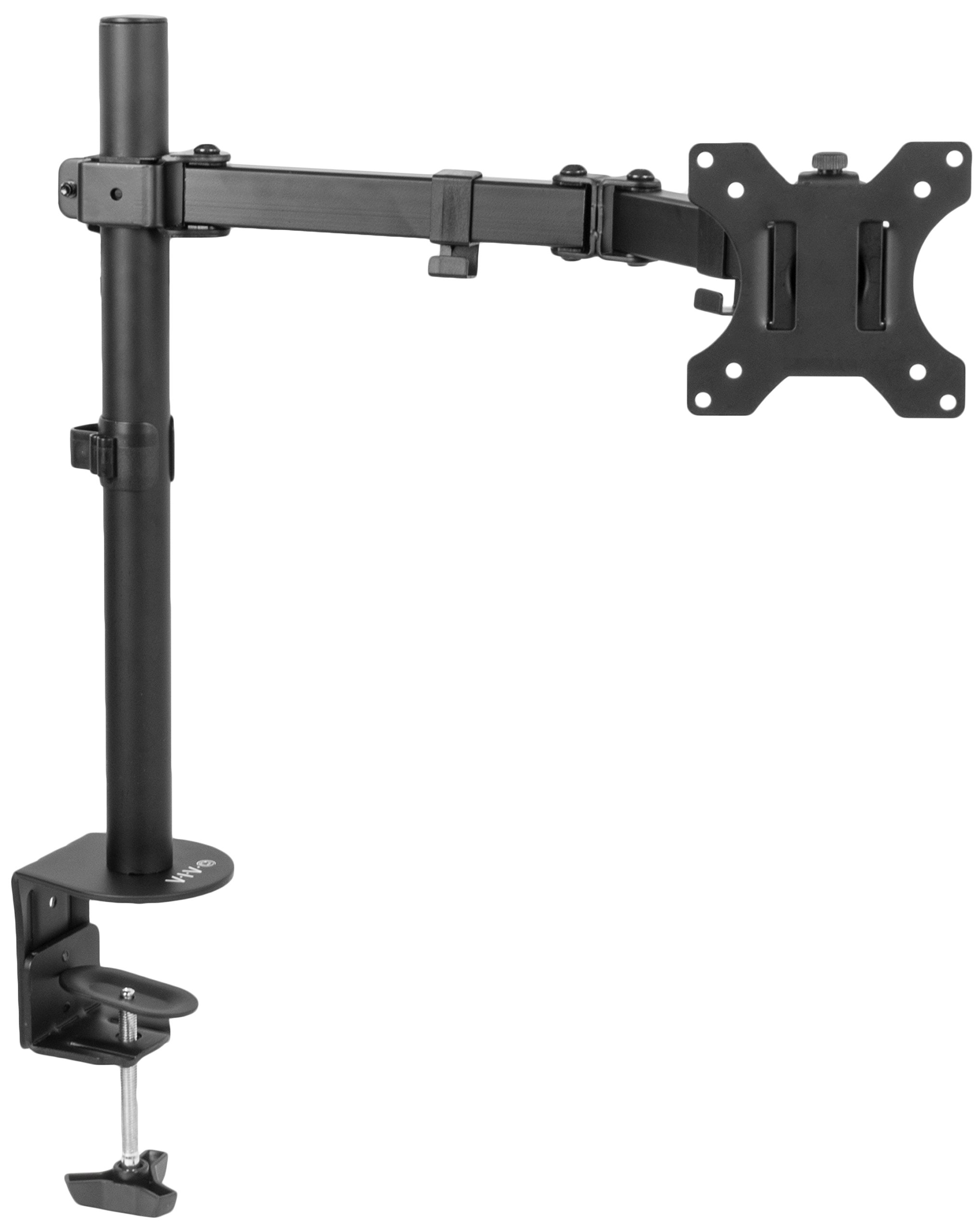 VIVO Full Motion Single VESA Computer Monitor Desk Mount Stand with Articulating Double Center Arm Joint | for 13'' to 32'' Screens (STAND-V101)