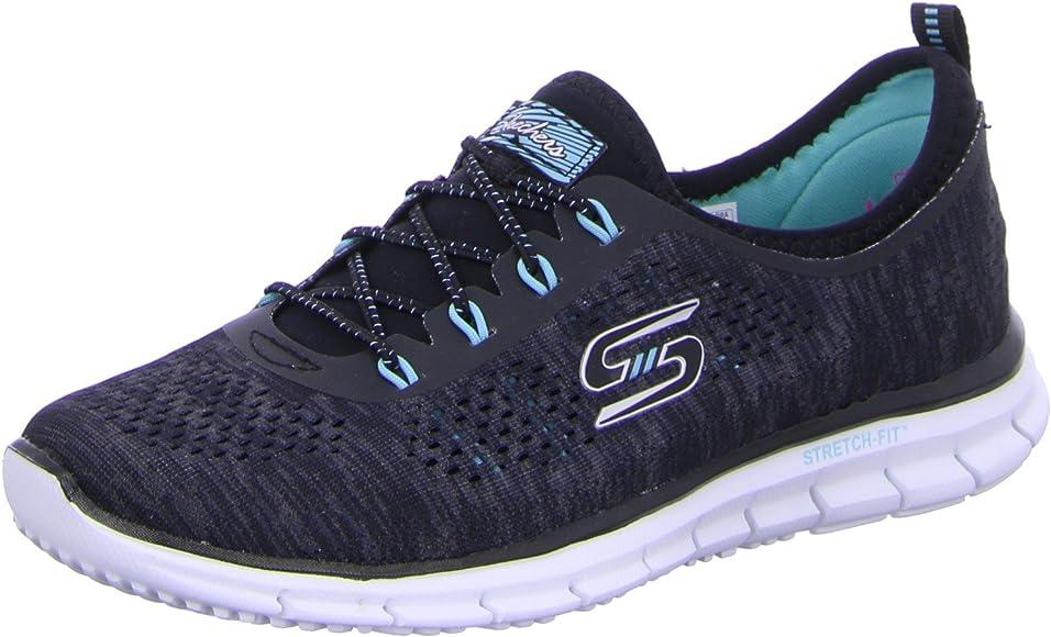 Skechers 22713 - Zapatillas de Deporte de Material Sintético Mujer, Negro (Negro/Azul), 37.5 EU: Amazon.es: Zapatos y complementos