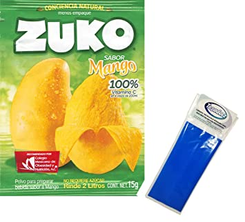 Zuko Mango Powdered Drink Mix (Pack of 12) with Tesadorz Resealable Bags