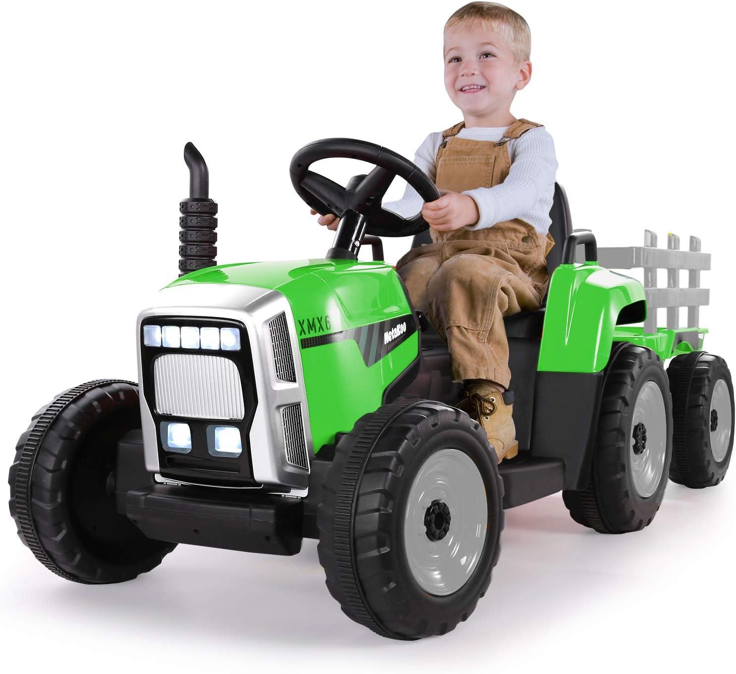 METAKOO Tractor Eléctrico 12V 7Ah 2+1 Cambio de Marchas, Tractor Juguete de Montar con Faro de 7 LED, Botón de Bocina/Reproductor MP3/ Bluetooth/Puerto USB/Control Remoto para Niño 3-8 años