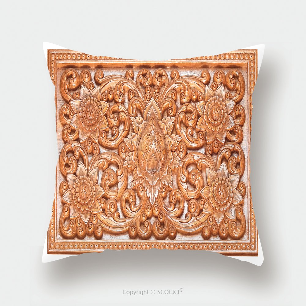 Custom Satin Pillowcase Protector Wooden Thai Style Craving On Wall Or Roof In Temple Of Northern Thailand 423627217 Pillow Case Covers Decorative