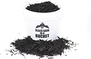 Black Dyed Bark Mulch in Bucket - by TERRAFIRMA - 1 Gallon - Shredded Bark Mulch Wood Chips, Dyed with a Rich, Non-Toxic Black Wood dye
