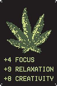 "Toothsome Studios Pixel Art Weed Leaf 12""x8"" Tin Gamer Sign Video Game Wall Art RPG Stat Decor Marijuana Decor Dorm Room Man Cave Decor"