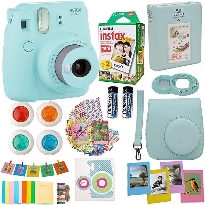 Fujifilm Instax Mini 8 Cámara instantánea hielo azul + Fuji Instax película Twin Pack (20pk) + azul funda para cámara + marcos + álbum de fotos + 4 Filtros de colores y