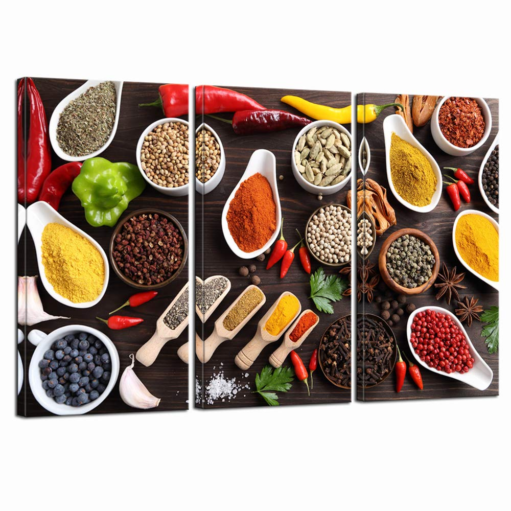 LevvArts- Kitchen Pictures Wall Decor 3 Pieces Couful Spice in Spoon Vintage Canvas Wall Art Food Photos Painting on Canvas Stretched Framed Home Decoration Ready to Hang