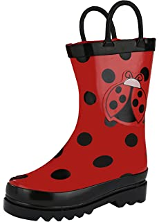 Puddle Play Kids Girls Ladybug Printed Waterproof Easy-On Rubber Rain Boots (Toddler
