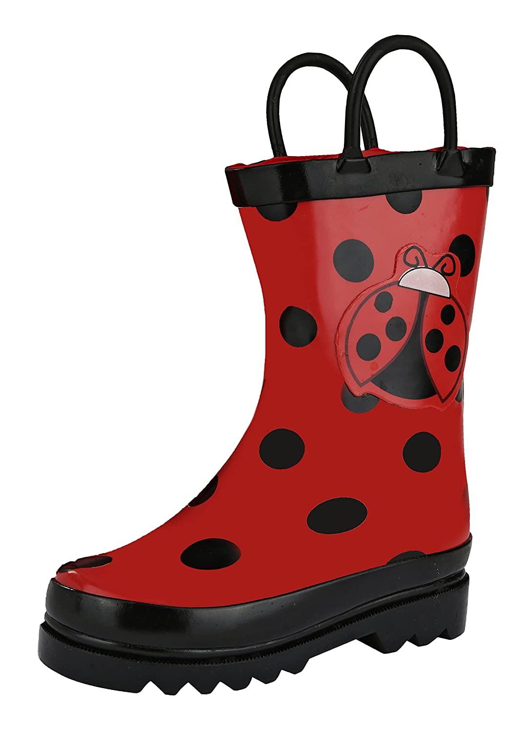 Puddle Play Kids Girls' Ladybug Printed Waterproof Easy-On Rubber Rain Boots (Toddler/Little Kids)