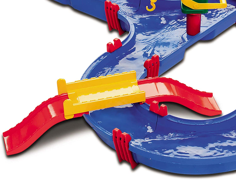 Wasserbahn AquaPlay Mega Bridge Wasserspielzeug Wasserspielstrasse Wasserspielbahn f/ür Kinder Drau/ßen Garten Boote reichlich Zubeh/ör Gartenspielzeug Wasserspieltisch Wasserspa/ß 49 Teile 105 x 120 cm