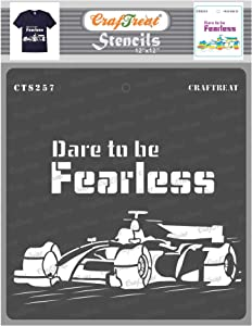CrafTreat Race Car Stencils for Painting on Wood, Wall, Tile, Canvas, Paper, Fabric and Floor - Dare to be Fearless - 12x12 Inches - Reusable DIY Art and Craft Stencils - Automobile Stencils